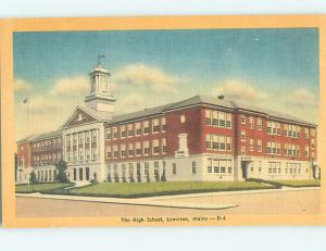 Unused Linen HIGH SCHOOL Lewiston Maine ME L9918