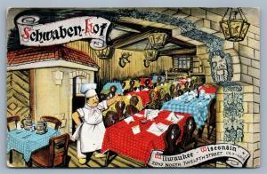 MILWAUKEE WI SCHWABEN-HOF GERMAN RESTAURANT 1950 VINTAGE POSTCARD