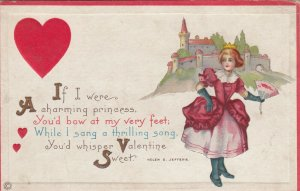 VALENTINE'S DAY, 1900-10s; Valentine Poem,  Princess wearing red dress