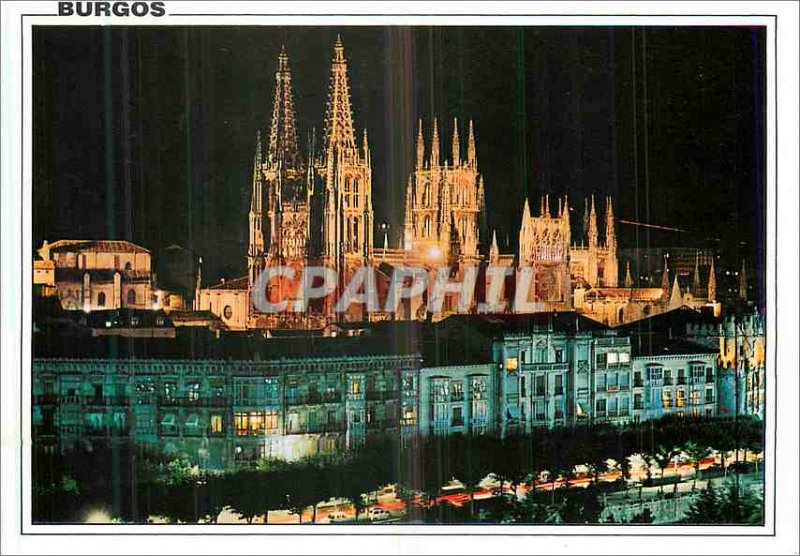 Modern Postcard Burgos Avenue Generalissime Franco Nightlife
