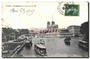 Old Postcard Perspective Paris on the Seine boat Peniche