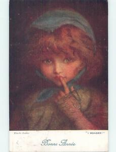 Pre-Linen foreign signed FRENCH GIRL WONDERS AND PUTS FINGER TO LIPS J5364