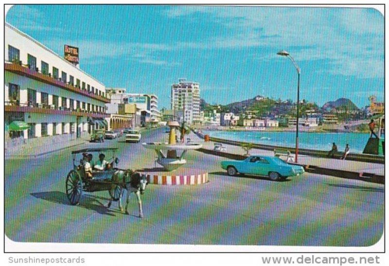 Mexico Mazatlan Sinaloa Horse Drawn Cart Arana On Olas Altas Boulevard