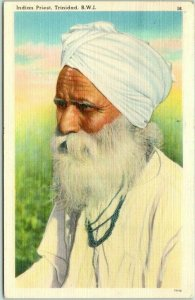 Postally-Used TRINIDAD B.W.I. Postcard Indian Priest Tichnor Linen 1948 Cancel