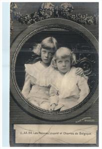4759  LL.AA.RR. Les Princes Leopold et Charles de Belgique RPPC postmark Alos...