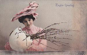 Easter Greeting, Woman in pink outfit holding egg shell with branches in it, ...