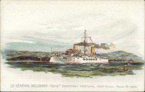 Navy Naval Battleship Country Series c1900 Postcard GENERAL BELGRANO Argentina
