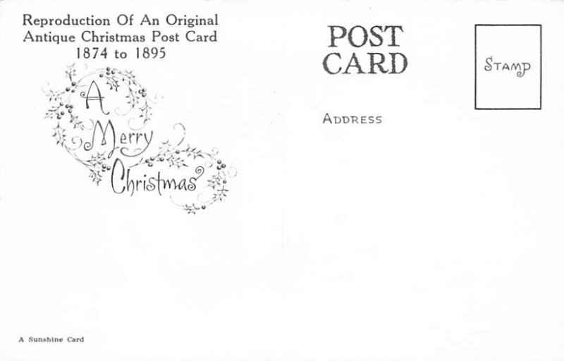 Christmas Post Card Old Vintage Antique Xmas Postcard Reproduction Unused