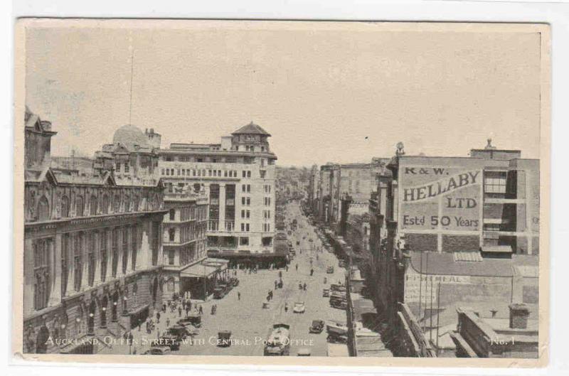 Queen Street Auckland New Zealand 1940s postcard