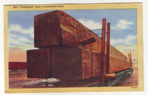 PC26 JLs postcard 1946 logging railroad exaggerated oregon