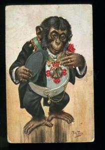 134441 Dressed MONKEY Chevalier By THIELE vintage TSN #781 PC