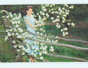 Pre-1980 Risque PRETTY GIRL HOLDING FLOWERS Camdenton Missouri MO HJ6864