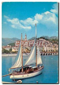Postcard Moderne Menton AM The Old Town and port