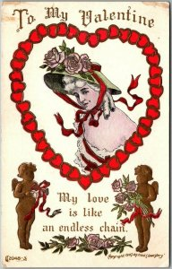 1910s VALENTINE'S DAY Embossed Postcard Artist-Signed FRED LOUNSBURY Cupid Heart