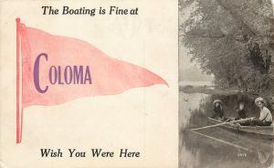 Coloma WI Boating is Fine, Wish You Were Here~How's The World Using You? 1912 PC