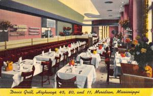 Meridian Mississippi Davis Grill Interior Antique Postcard K49157