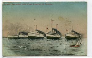 Ontario Navigation Co Steamer Fleet Lewiston Toronto 1913 postcard