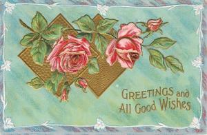 Pink Roses on Double Gold Diamond~Mint Green Back~White Embossed Flower Border