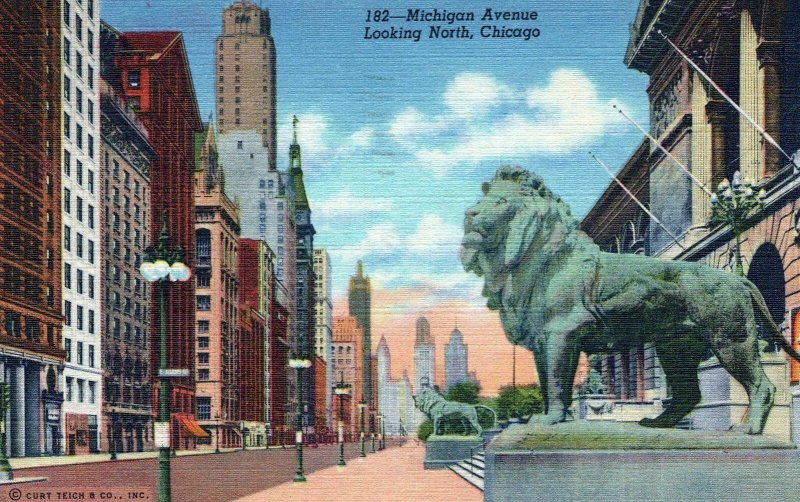 Michigan Avenue Looking North Chicago Posted Illinois Vintage Linen Post Card