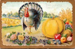 Thanksgiving With Turkey and Fruit 1911