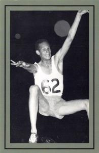 Nostalgia Postcard Dutch Athlete H. Visser, Long Jump, 1953 Repro Card NS50