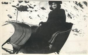 Winter Snow Scene~Lady Bundled Up In Sleigh Holds Reins~1913 Real Photo Postcard