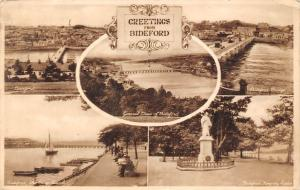 England Greetings from Bideford Bridge Boats Statue Multiviews 1932