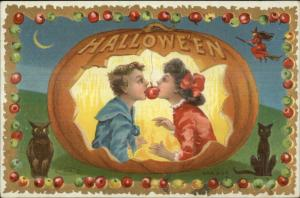 Halloween Taggart Ser #803 Little Boy & Gitl Cat Owl c1910 Postcard EXC COND