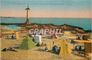 Postcard Old Saint Nazaire The Beach and the American Monument
