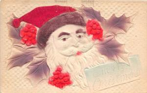 E42/ Santa Claus Merry Christmas Holiday Postcard c1910 Airbrush Large Holly 1