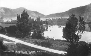 Sri Lanka Ceylon Corner of Nuwara Eliya Lake, showing Boat-House 1943