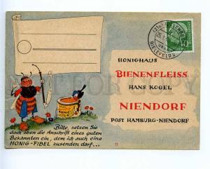 221405 GERMANY ADVERTISING honey smoking bee old postcard