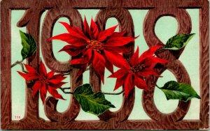 Vtg Carte Postale 1908 Faux Bois & Pointsettia Neuf Ans Voeux Edition Mitchell
