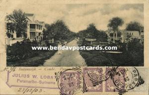 suriname, PARAMARIBO, Combé, Buitenwijk, Street Scene (1903) Stamps
