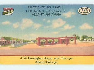 Unused Linen MECCA COURT MOTEL Albany Georgia GA M5709