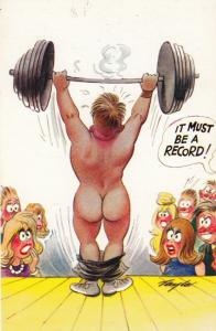 Charles Atlas Muscle Man Weight Training Breaking A Record Comic Humour Postcard