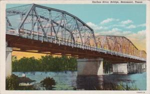 Texas Beaumont Neches River Bridge 1950 Curteich