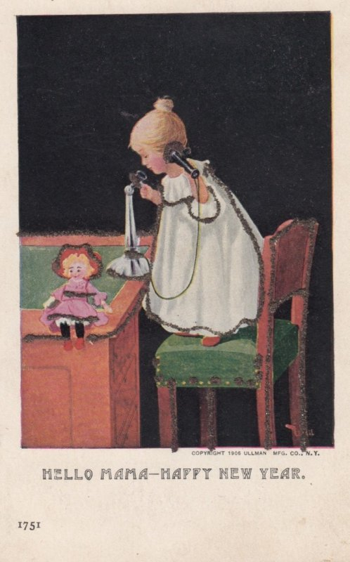 NEW YEAR ; Baby on Telephone , 1906