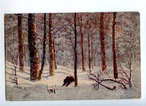 157172 Bear HUNT Winter by MURAVIEV vintage Russia PC