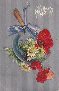 With Best WIshes, Sickle and bouquet of red poppies and daises, PU-1911