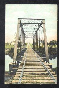 CORTLAND NEW YORK RAILROAD BRIDGE TIOUGHNIOGA RIVER VINTAGE POSTCARD NY
