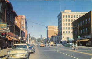 Massilon Ohio 1950s Postcard Main Street  Cars Stores