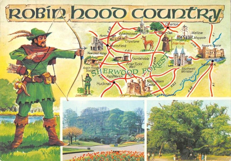 Sherwood Forest Map BR83472 robin hood country map sherwood forest uk / HipPostcard Sherwood Forest Map