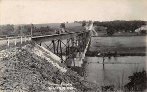 Eldora Iowa River~Horse & Wagon Bridge on Weddington Ave~Pedestrians~RPPC c1914
