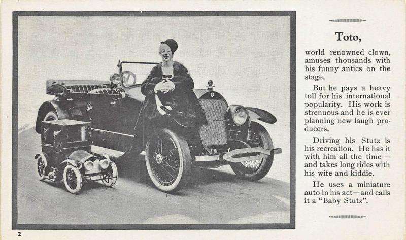 Stutz Automobile Toto The Clown w/ Baby Stutz Advertising Official Postcard