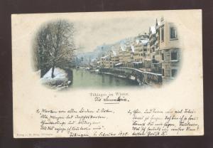 TUBINGEN GERMANY IM WINTER SNOW 1898 GERMAN ANTIQUE VINTAGE POSTCARD