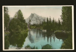 Postmarked 1941 Mount Rundle Banff Can Rockies Real Hand Colored Photo Postcard
