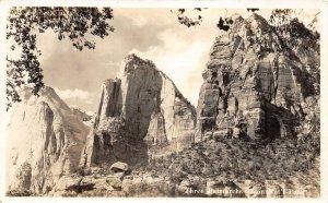 F89/ Zion National Park Utah RPPC Postcard c1940s Three Patriarchs 2