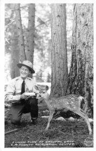 RPPC Ranger Feeding Deer Crystal Lake LA County Recreation Center Postcard 1940s