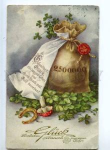240878 NEW YEAR Greeting MUSHROOM Amanita Vintage postcard